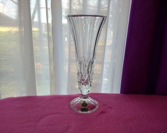 Beyer Bleikristall 24 % Lead Crystal Footed 10 Inch Flower Vase West Germany Vintage Classic Design House Warming Wedding Gift Formal Decor