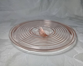 Jeannette Jeannyware  Glass Lid 70 Oz. 8 Inch Jeannyware Jenny Ware Refrigerator Leftovers Container Replacement Pink Depression Glass Lid