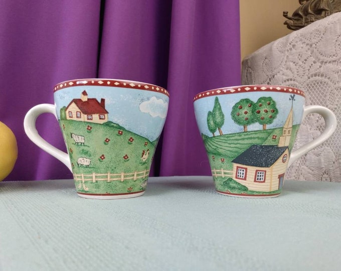 Sango China Cups Green Acres Cups  4873-20 Pattern Set Of 2 Replacement Cups ~ No Saucer Rural Farm Scene Country Pastures Sheep Cows House