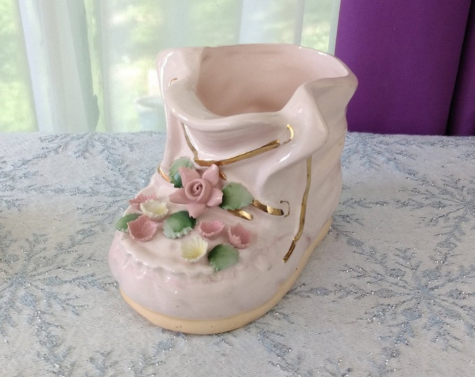 Napco Pink Baby Shoe Applique Flowers 1811 Mid Century Ceramic China Baby Shower Gift Rare Unique Affordable Gift Planter Pin Pencil Holder