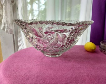 EAPG Vintage Wiltec Clear Punch Bowl McKee Circa 1913 Spinning Feather Pattern Prescut Line Nucut