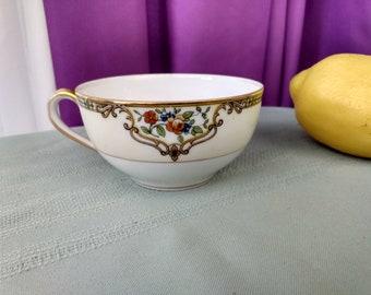 Noritake Morimura China Tea Cup Chelsea Pattern Replacement Dinnerware 1920's Hand Painted Gold Trim Art Deco GrandesTreasures