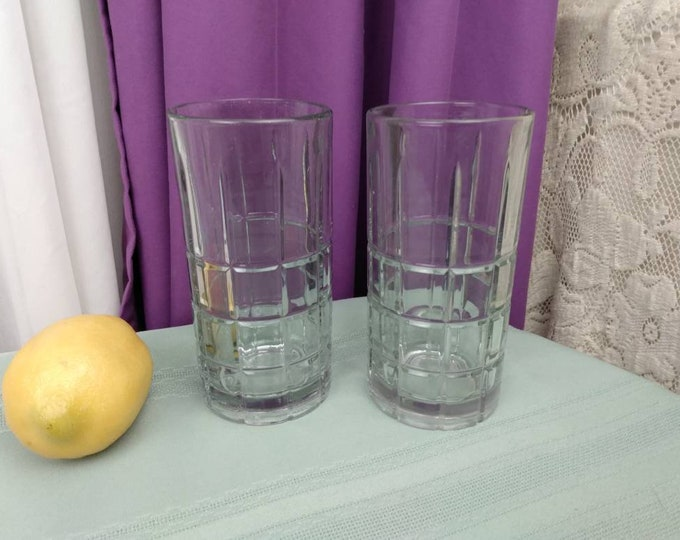 Anchor Hocking Clear Tartan Water Pitcher And Tall Glasses Set of 2 Manchester Plaid Chris Cross Heavy Drinkware