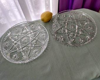Anchor Hocking Prescut Clear Glass Star Of David 11 Inch Dinner Plate Set Of 2