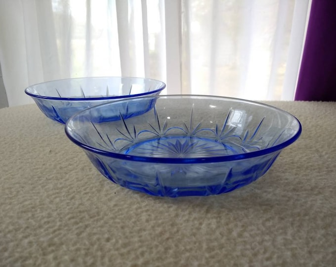 Set Of 2 American Blue Classic Light Blue Cereal Soup Bowls 6 3/4 Wide Replacement By Fostoria Glass For Avon