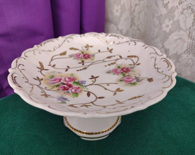 Vintage Porcelain Floral Compote Gold Trim Hand Painted German Fine Ceramic Candy Dish Meissen Style Arnot Homco