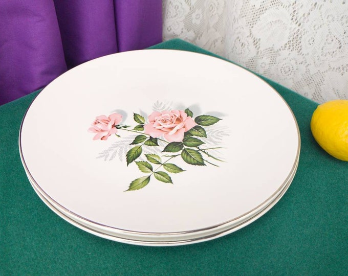 Summer Rose Dinner Plates By Taylor Smith Taylor Platinum Trim Set Of 2 Pink Rose Gray Green Leaves On Beige China Mid Century Dinnerware