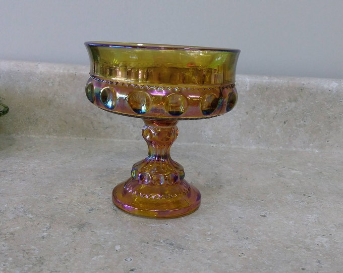 Indiana Amber Carnival Glass Thumbprint Kings Crown Compote Candy Dish