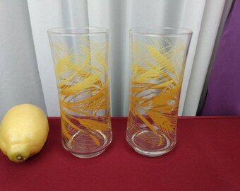 Libbey Golden Harvest Yellow Wheat Large Glasses 16 Oz.  Set of 2 Retro Kitchen Replacement Drinkware