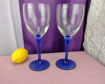 Cobalt Domaine Water Glasses By Libbey Cobalt Stem Clear Bowl Vintage Blue Stemmed Water Goblets