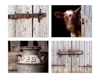 Farm Print Set, Country Home Decor, Farmhouse Wall Art, Rustic Home Decor, Cow Photograph, Old Milk Can Photo, Set of 4 Canvas Prints