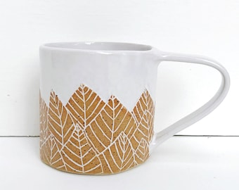 Botanical Leaf Ceramic Coffee Mug / White Modern Mug / Nature Inspired Coffee Cup / READY TO SHIP