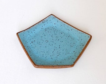 Turquoise Geometric Ceramic Dish / Jewelry Dish / Succulent Drainage Tray / Ceramic Saucer / Modern Pottery / The  Kure Dish / READY TO SHIP