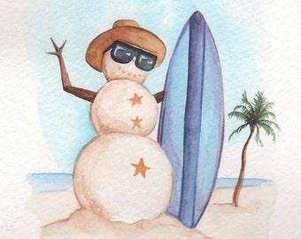 Snowman on Vacation | 4x6 Original Watercolor