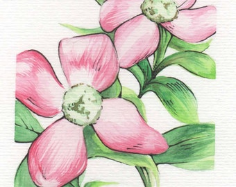 Pink Flowers   4x6 Original Watercolor