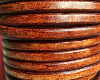 """MADE IN SPAIN 8"""" regaliz de cuero de la cuerda, cuerda de cuero 10x6mm, cordón de cuero de color de tabaco (10ANITAB)"""