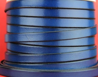"""MADE in EUROPE 24"""" flat leather cord, 10mm leather cord, blue genuine leather cord (221/10/14)"""