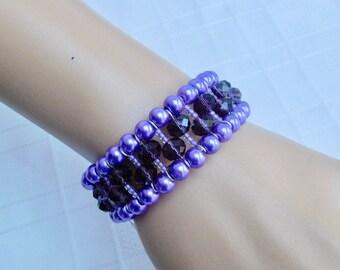 Purple Beaded Bangle Bracelet, Purple Bracelet, Memory Wire Bangle, Pearl Bracelet, Crystal Bracelet, Purple Jewelry, Gift For Her