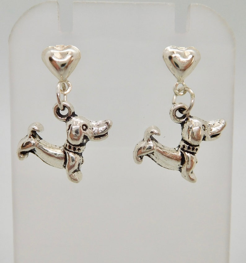 SAUSAGE DOG DACHSHUND STUD EARRINGS SILVER PLATED