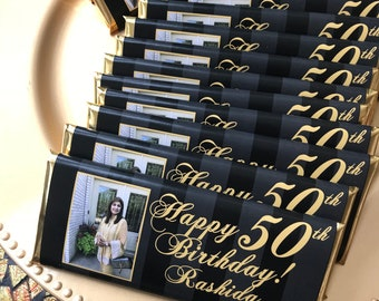 50th Birthday Favors Party Black And Gold 40th 50 Fabulous Fab At 24 Ct