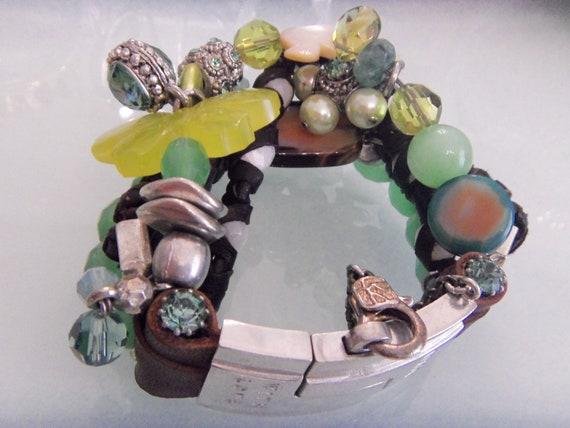 Vintage OTAZU  Charm Bracelet,Swarovski Crystal, B