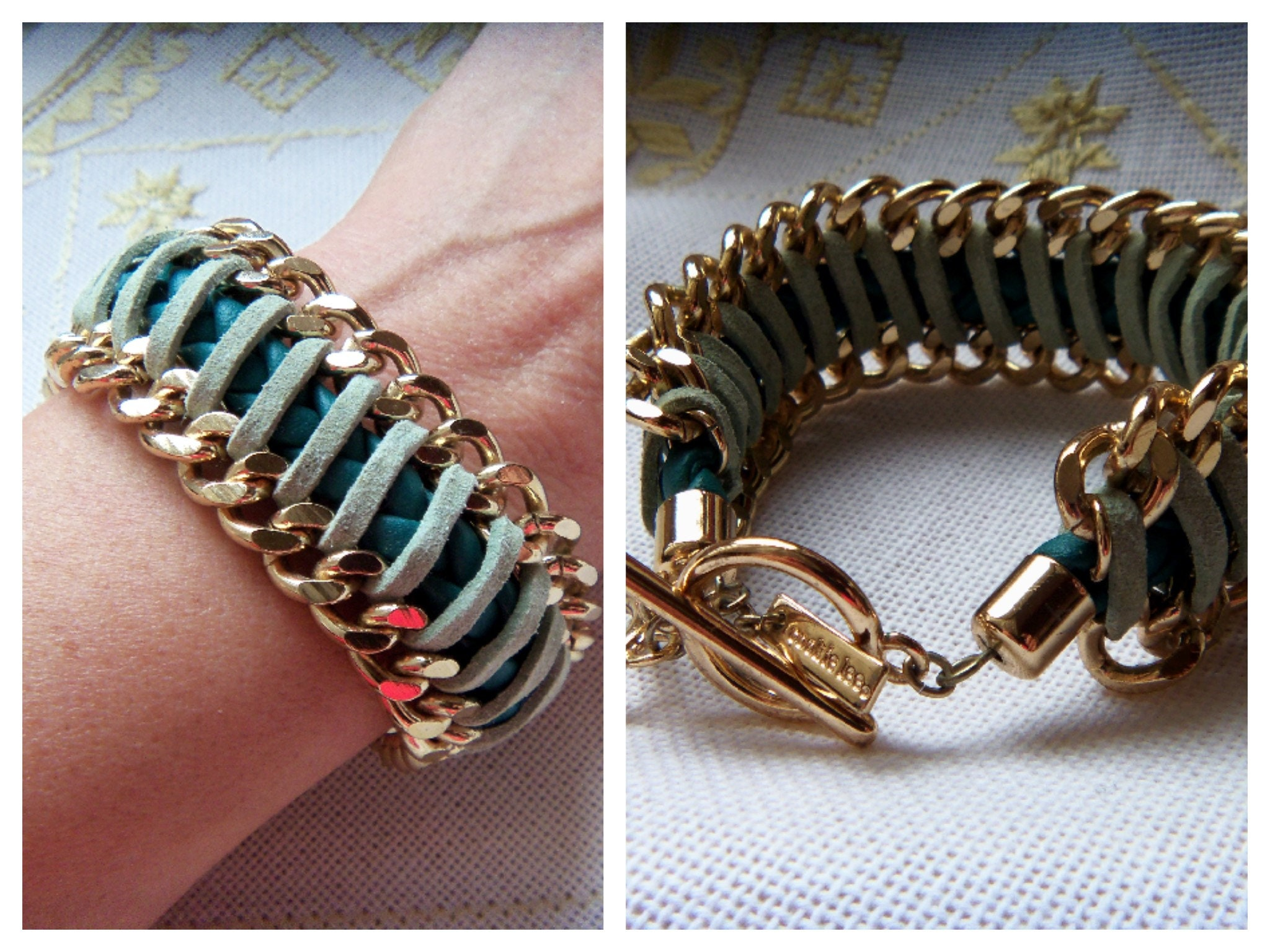 Couture : bracelet (gold ,set ,vintage) ,dog ,jewelry