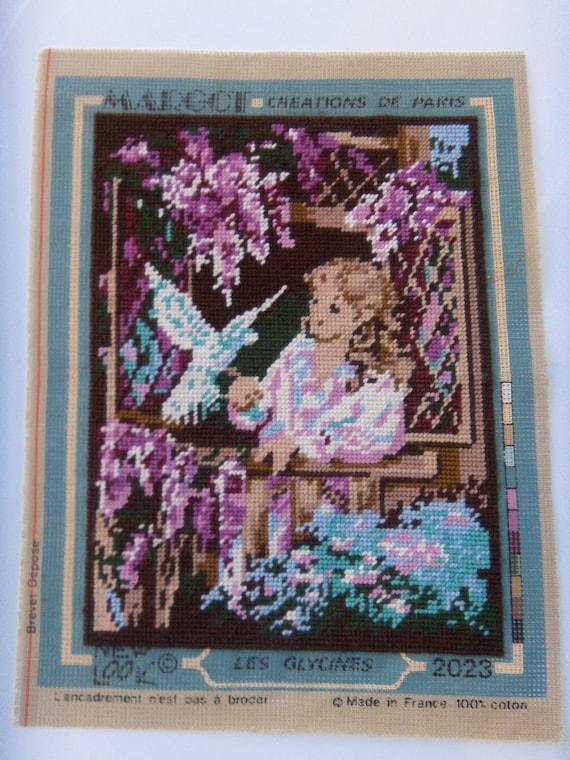 Margot de Paris Tapestry//Needlepoint Kit Roses on Black