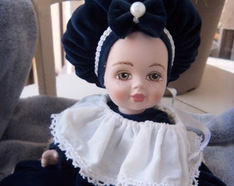 Jahrgang venezianischen Biskuit-Porzellan Puppe Sommersprossen auf dem Gesicht, Made in Italy