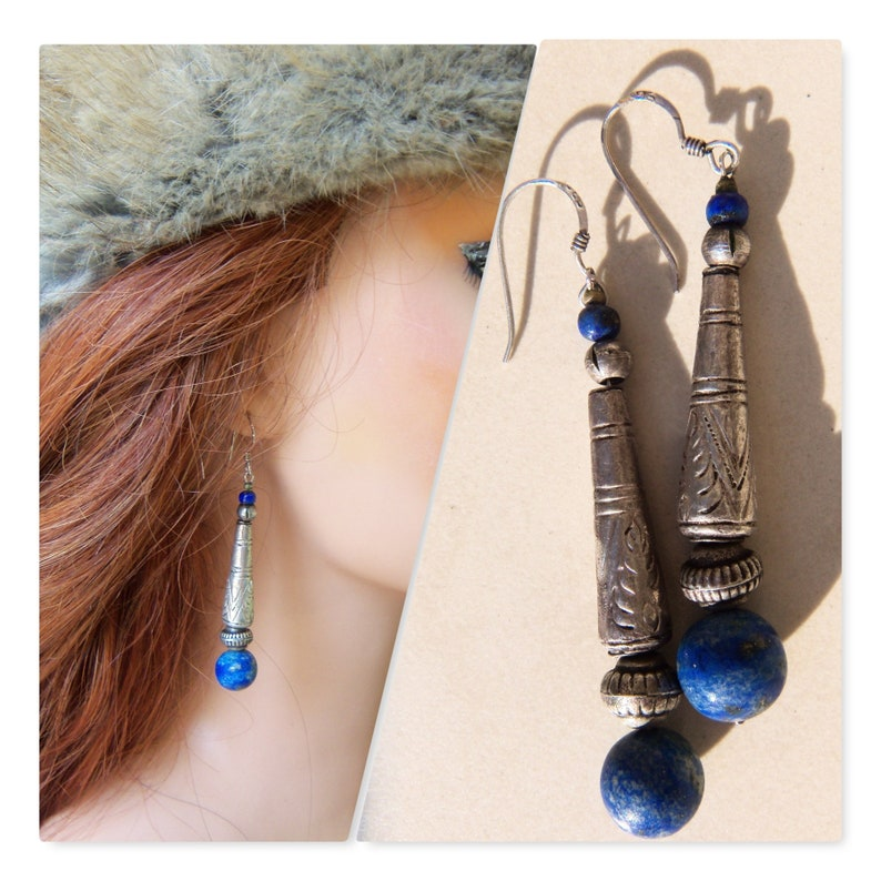 Rope Hoop Indian Sterling Silver Earrings with Lapis /& Coral Dangling