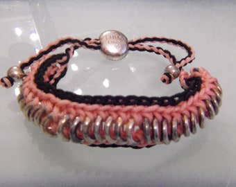 Vintage LINKS OF LONDON Friendship pink & black bracelet.