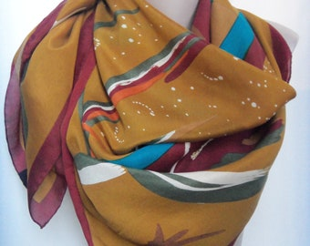 Vinage Abstract Island impression silk scarf,Oversized, Large, Square