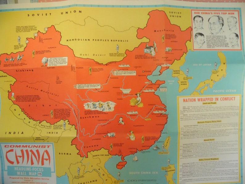 Vintage Communist China Wall Map Headline Focus 15 | Etsy