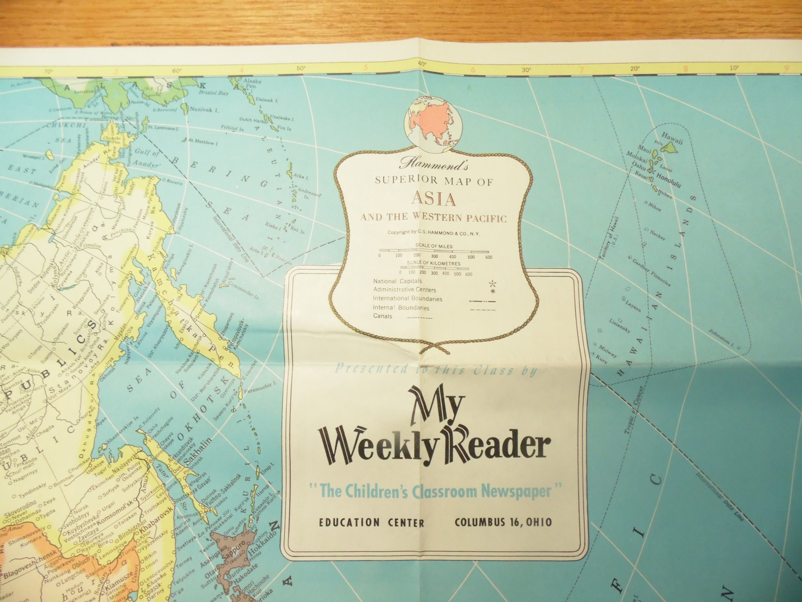 Vintage My Weekly Reader Wall Map Of Asia Map Of Africa Etsy