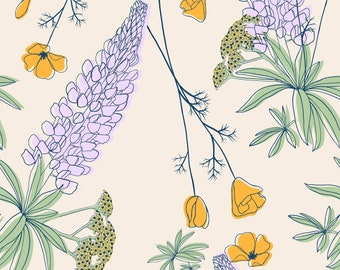 California Wildflowers, Seamless Pattern, Repeat Pattern, Digital Paper, Commercial Use, Digital Download, Wildflower Seamless Pattern