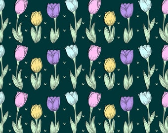Dark Tulip Pattern, Seamless Pattern, Repeat Pattern, Digital Paper, Commercial Use, Digital Download, Tulip Seamless Pattern