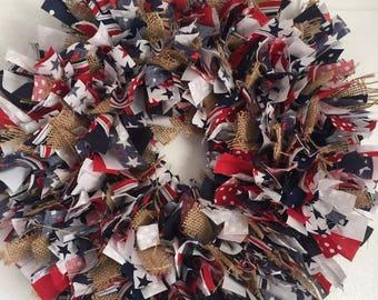PATRIOTIC AMERICANA WREATH,Rag Wreath,Door Decor,Door Hanger,4th Of July,Red White Blue,Front Door,Country,Rustic,Burlap,Wall Decor,Wreath