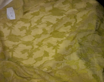 No. 611-fabric chiffon RUFFLED POLYESTER VISCOSE - lemon bright green