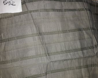 No. 592 fabric in cotton muslin Green Khaki with stripes