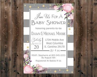 Printable - Digital - Baby Shower Invitation - Floral