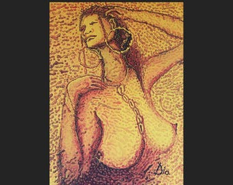 """Natural Woman 2 / African Painting / African Art / Acrylic on Canvas 36"""" x 50"""" inches"""