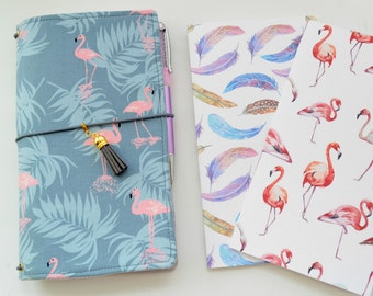 Set Fauxdori - Dori, Two Inserts Notebook - Pink Flamingo