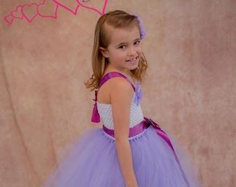 Lavender and White Flower Girl Dress, Flower Girl Tutu, Flower Girl Dress, Flower Girl, Birthday, Dress, Tutu, Birthday Dress, Purple Dress