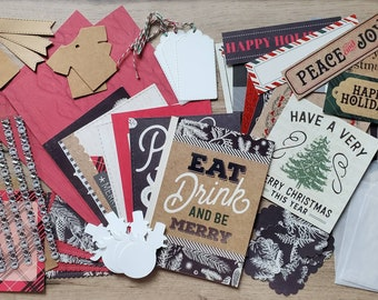 45 Assorted Christmas Scrapbook Pieces - Scrap Bundle Paper Pack/Destash /Mixed Grab bag/Collage/Bullet Journal / Junk Journals/DIY
