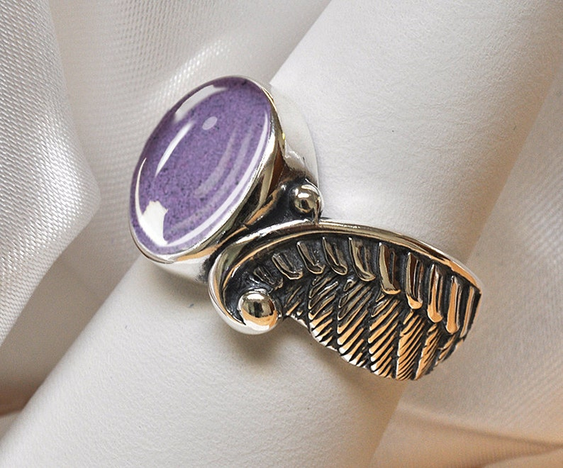 ANGEL WING PET Cremation Ring 925 Sterling Silver Pet Loss Cremation Ashes Ring Pet Memorial Ring Custom Pet Cremation Jewelry Ashes Jewelry