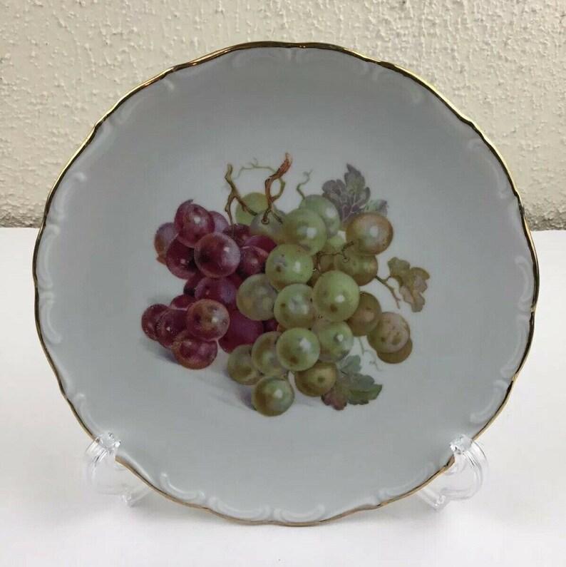 Schumann Bavaria SCH16 7 38 Salad Plate Pear Grapes Scalloped Edges Gold Trim .