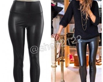 9f4cb0bf1558e Black Faux leather leggings high waisted fleece lined S,M,L,XL