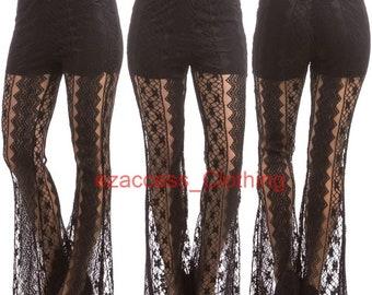 6e8a95afcf Women Lace Crochet Sheer Mesh Palazzo Pants Wide Leg Bell Bottom