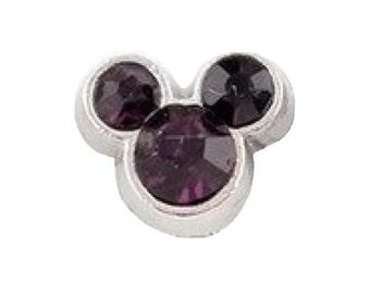 Mickey Inspired Feburary Birthstone Floating Charm