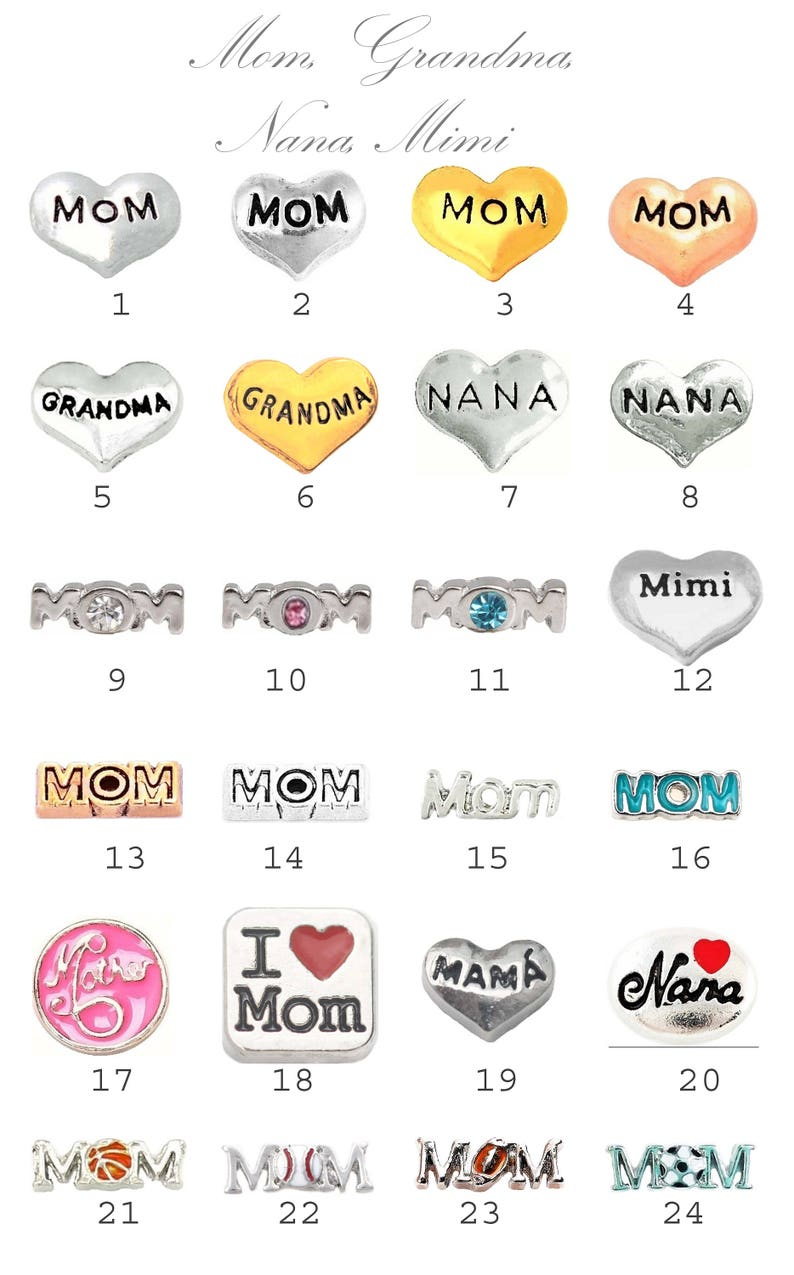 Choose the birthstone needed in the notes. NANA Theme Set Floating Charm Comes with your choice of birthstones