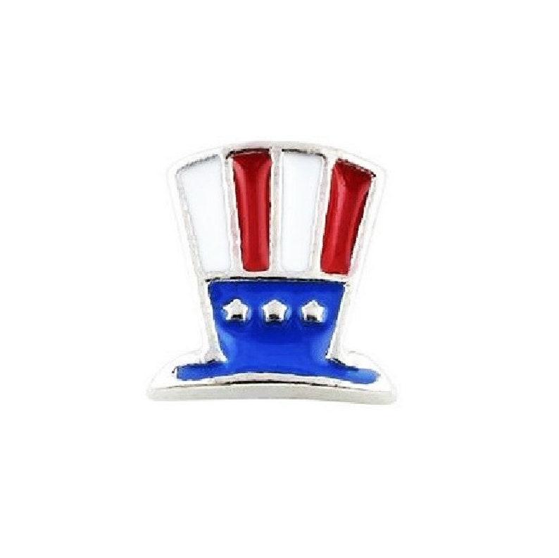 White and Blue Floating Charm 18 x 4mm Czech Crystal Red 4th of July